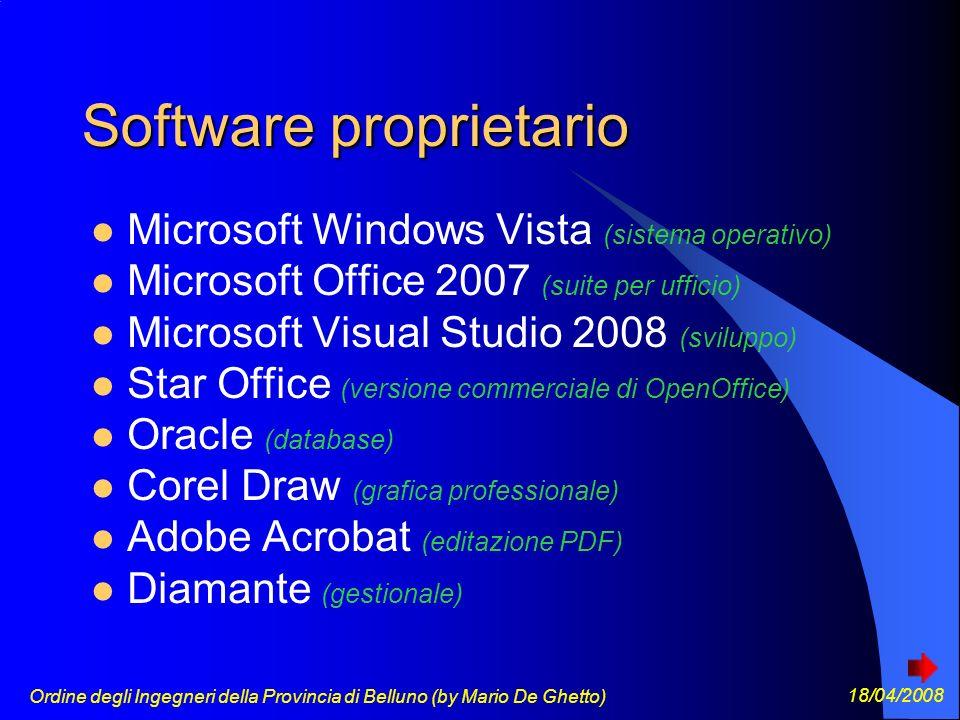 Ordine degli Ingegneri della Provincia di Belluno (by Mario De Ghetto) 18/04/2008 GPL La GNU General Public License Viene spesso indicata con l acronimo GNU GPL o (quando non c è il rischio di confondersi con un altra General Public License ) semplicemente GPL.