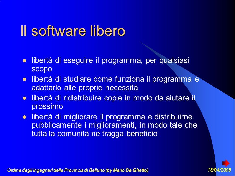 Ordine degli Ingegneri della Provincia di Belluno (by Mario De Ghetto) 18/04/2008 Perché il software libero dovrebbe convenire agli sviluppatori?