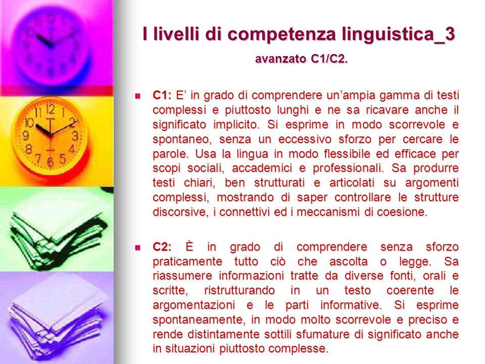 I livelli di competenza linguistica_3 avanzato C1/C2. C1: E in grado di comprendere unampia gamma di testi complessi e piuttosto lunghi e ne sa ricava