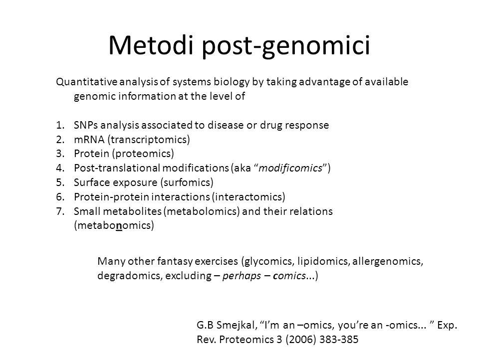 Proteomica Non cè correlazione tra quantità di mRNA e quantità di proteina (Gygi et al., 1999) Il proteoma è unistantanea del fenotipo a livello biochimico Il proteoma tiene conto del processing delle proteine S.P.Gygi et al., Mol.