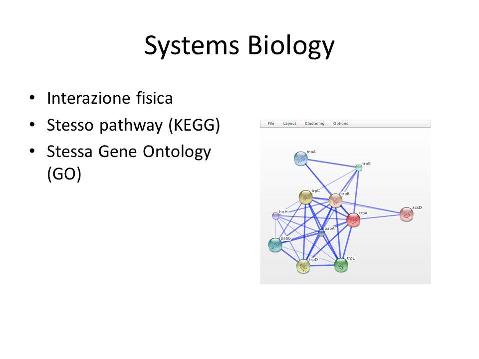 Systems Biology Interazione fisica Stesso pathway (KEGG) Stessa Gene Ontology (GO)