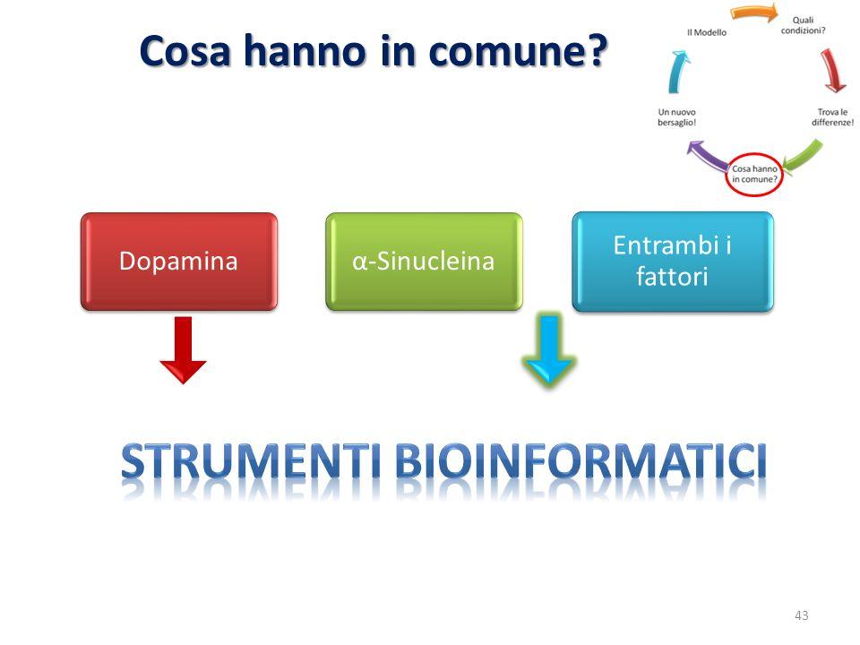 Cosa hanno in comune? Dopaminaα-Sinucleina Entrambi i fattori 43