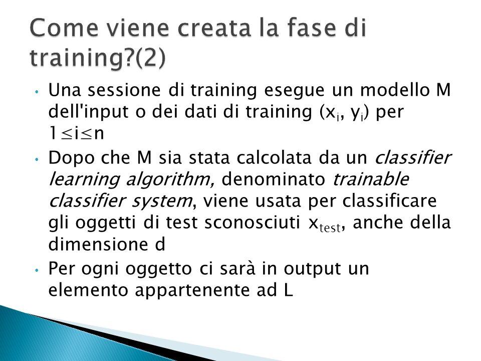 L'obiettivo di una procedura di classificazione è di fare le buone previsioni basate sui dati di training dell'input. Un esperto umano prepara un insi