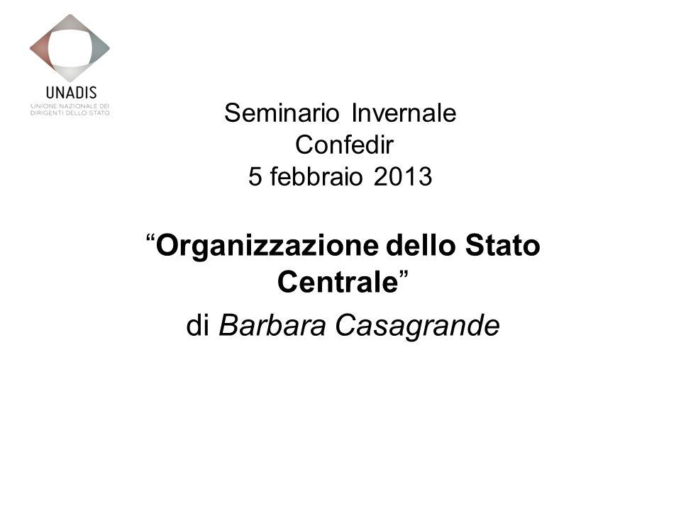 Seminario Invernale Confedir 5 febbraio 2013 Organizzazione dello Stato Centrale di Barbara Casagrande