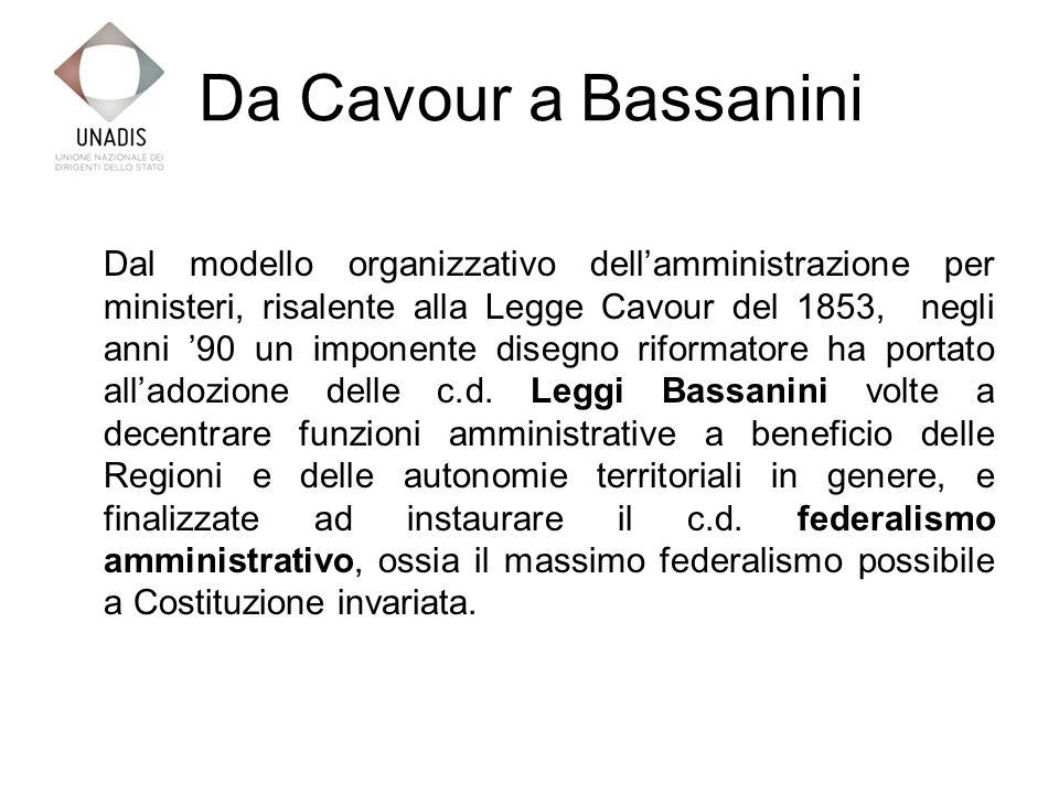 Da Cavour a Bassanini Dal modello organizzativo dellamministrazione per ministeri, risalente alla Legge Cavour del 1853, negli anni 90 un imponente disegno riformatore ha portato alladozione delle c.d.