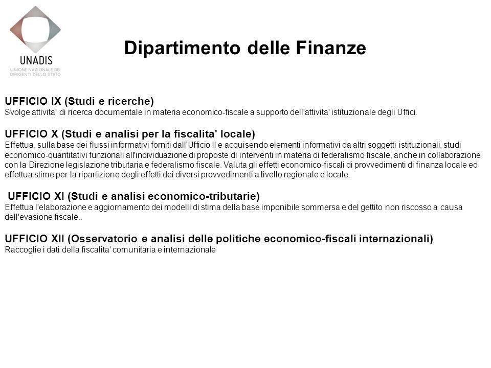 UFFICIO IX (Studi e ricerche) Svolge attivita di ricerca documentale in materia economico-fiscale a supporto dell attivita istituzionale degli Uffici.