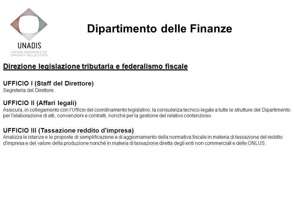 Direzione legislazione tributaria e federalismo fiscale UFFICIO I (Staff del Direttore) Segreteria del Direttore.