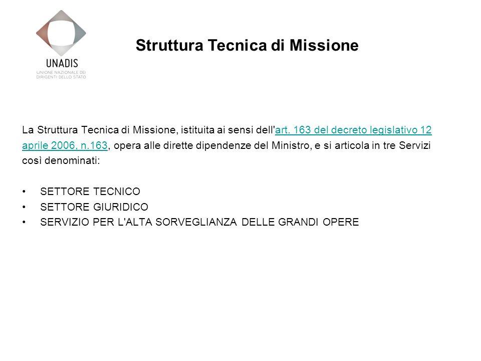 La Struttura Tecnica di Missione, istituita ai sensi dell art.