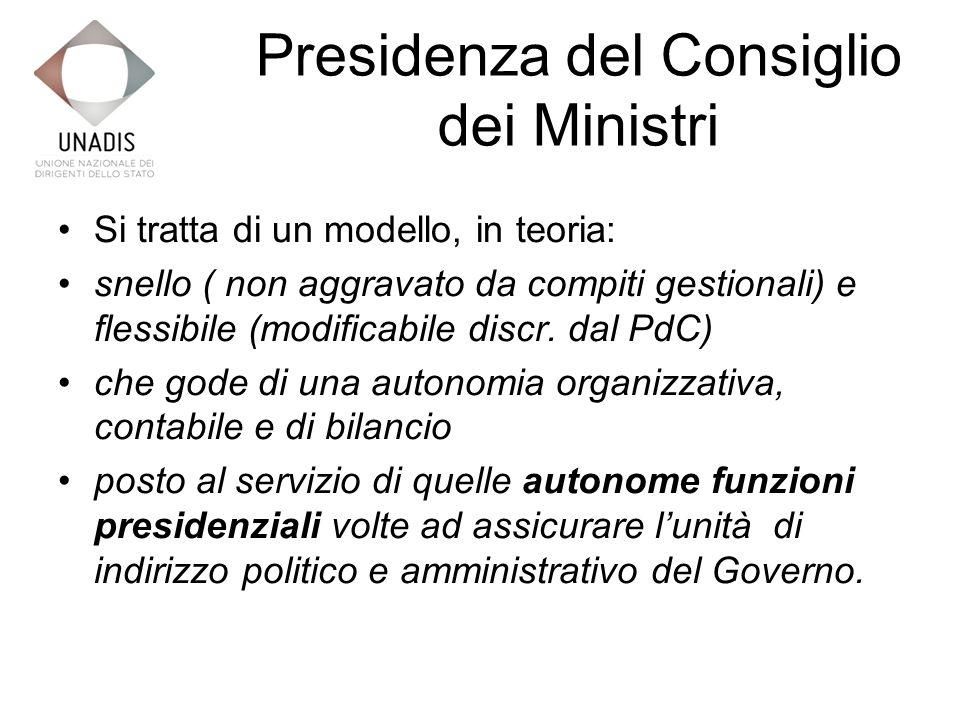 Presidenza del Consiglio dei Ministri Si tratta di un modello, in teoria: snello ( non aggravato da compiti gestionali) e flessibile (modificabile discr.