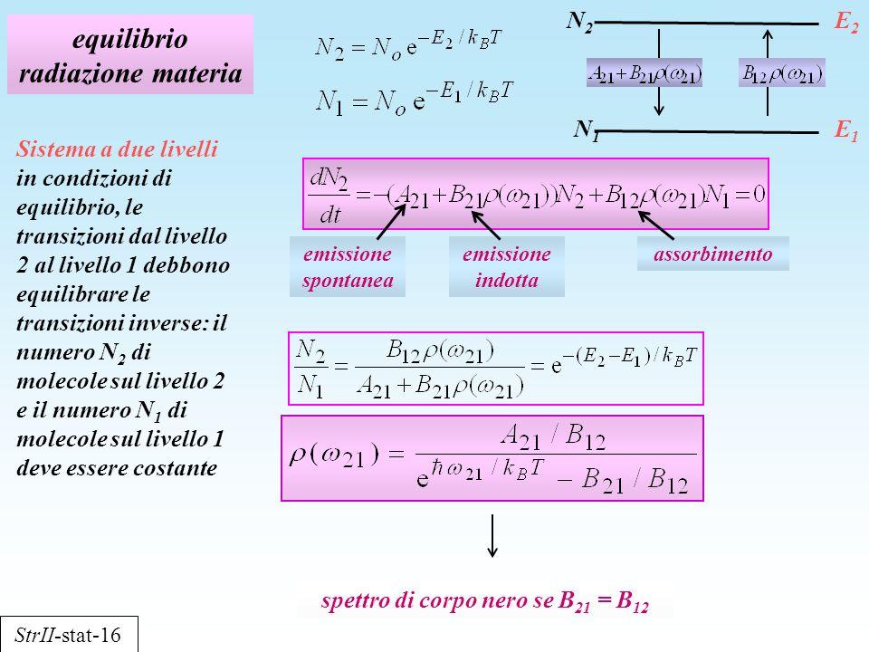 equilibrio radiazione materia Sistema a due livelli in condizioni di equilibrio, le transizioni dal livello 2 al livello 1 debbono equilibrare le tran