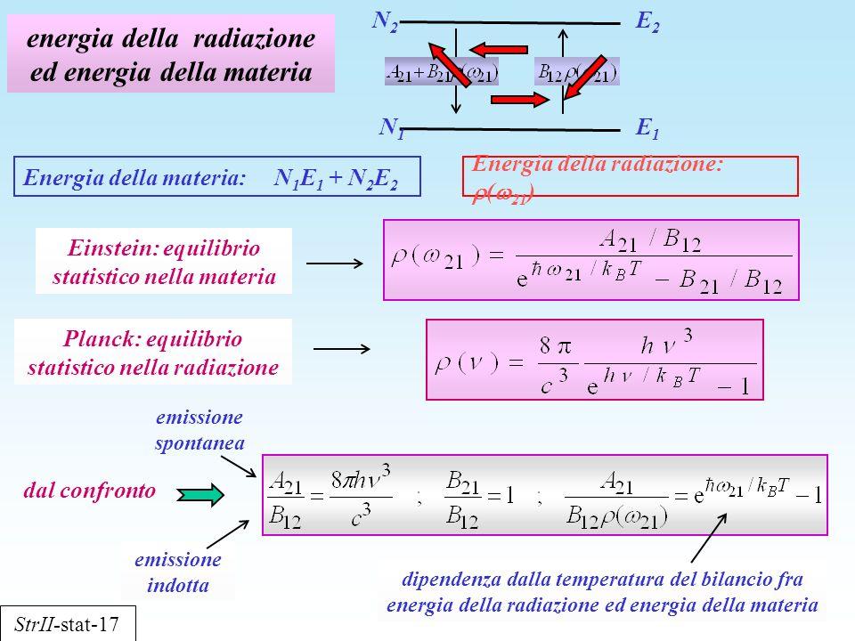 energia della radiazione ed energia della materia Energia della materia: N 1 E 1 + N 2 E 2 StrII-stat-17 E1E1 E2E2 N1N1 N2N2 Einstein: equilibrio stat