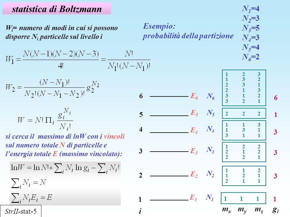 statistica di Boltzmann Esempio: probabilità della partizione i 1 2 3 5 4 6 E1E1 E2E2 E3E3 E5E5 E4E4 E6E6 N1N1 N2N2 N3N3 N5N5 N4N4 N6N6 m x m y m z g