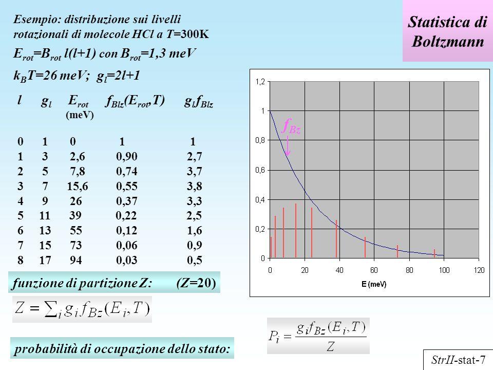 Statistica di Boltzmann Esempio: distribuzione sui livelli rotazionali di molecole HCl a T=300K E rot =B rot l(l+1) con B rot =1,3 meV k B T=26 meV; g