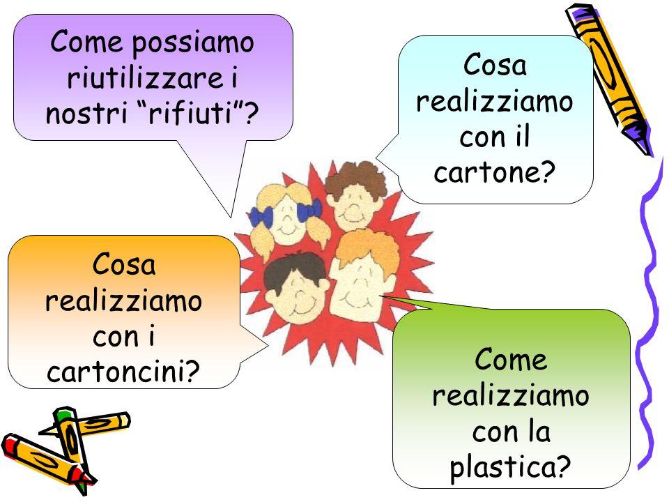 Cosa realizziamo con il cartone? Come realizziamo con la plastica? Cosa realizziamo con i cartoncini? Come possiamo riutilizzare i nostri rifiuti?