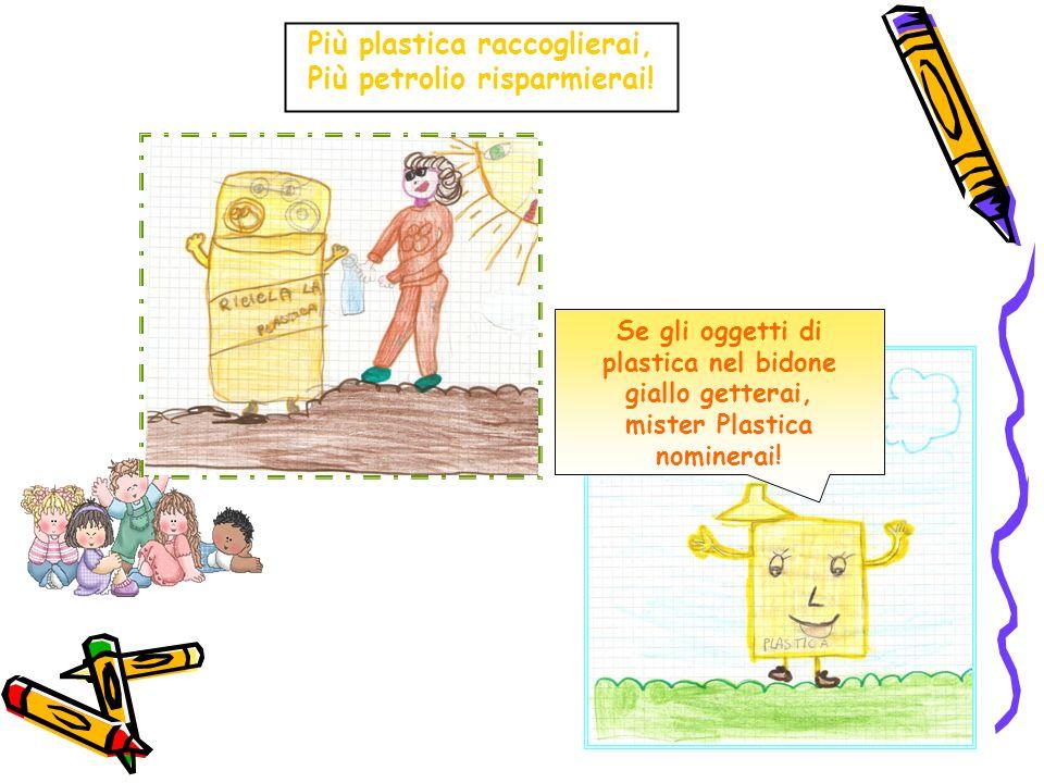 Più plastica raccoglierai, Più petrolio risparmierai! Se gli oggetti di plastica nel bidone giallo getterai, mister Plastica nominerai!