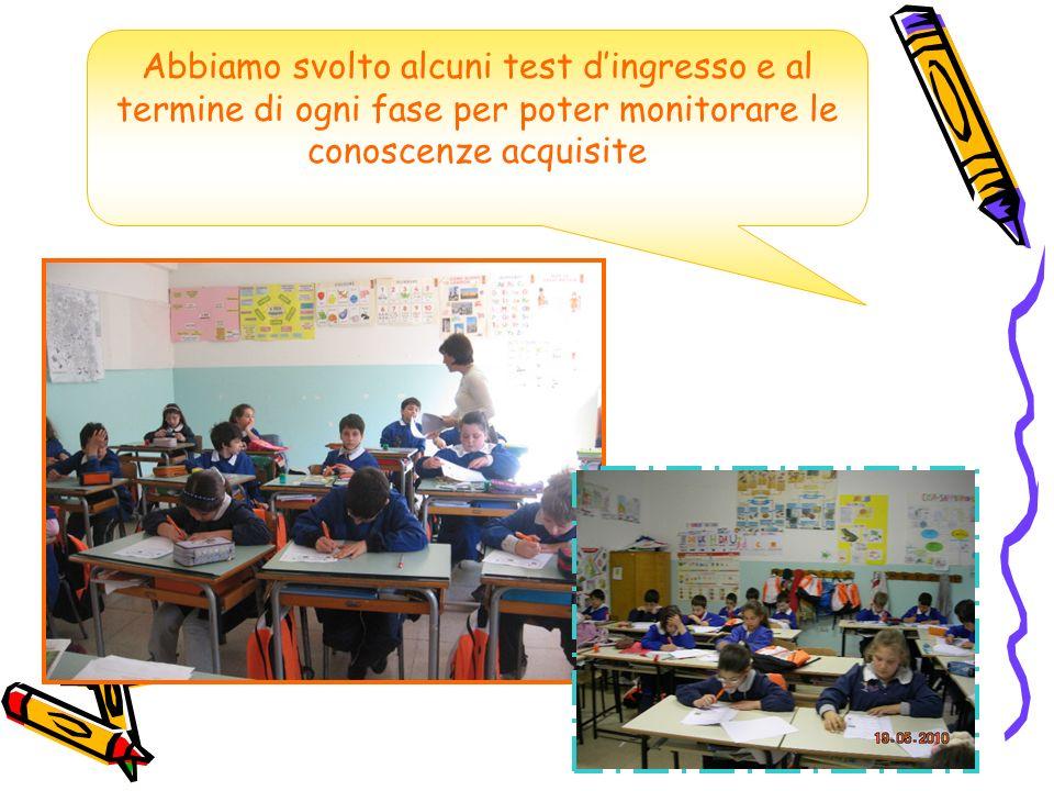 Abbiamo svolto alcuni test dingresso e al termine di ogni fase per poter monitorare le conoscenze acquisite