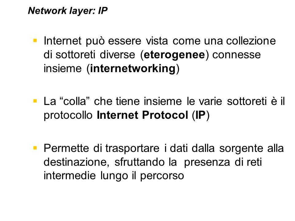 Internet può essere vista come una collezione di sottoreti diverse (eterogenee) connesse insieme (internetworking) La colla che tiene insieme le varie