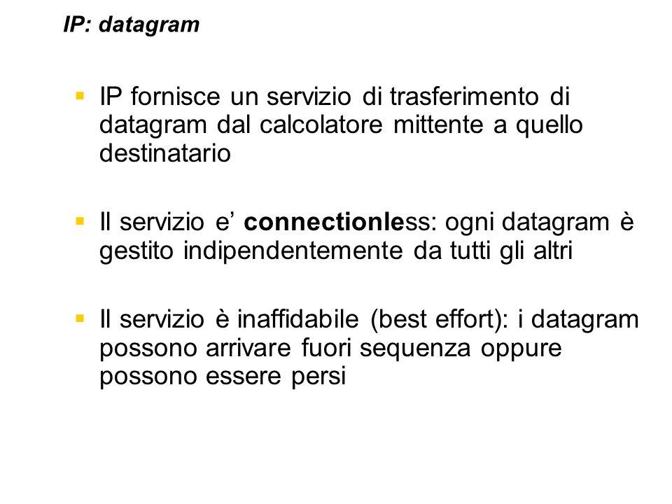 IP fornisce un servizio di trasferimento di datagram dal calcolatore mittente a quello destinatario Il servizio e connectionless: ogni datagram è gest