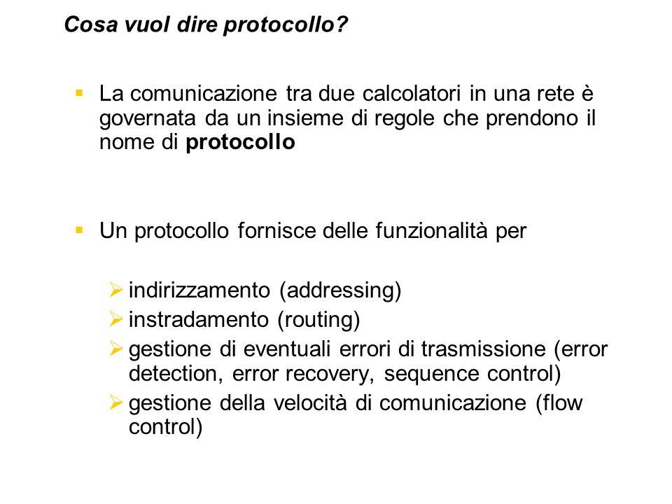 La comunicazione tra due calcolatori in una rete è governata da un insieme di regole che prendono il nome di protocollo Un protocollo fornisce delle f
