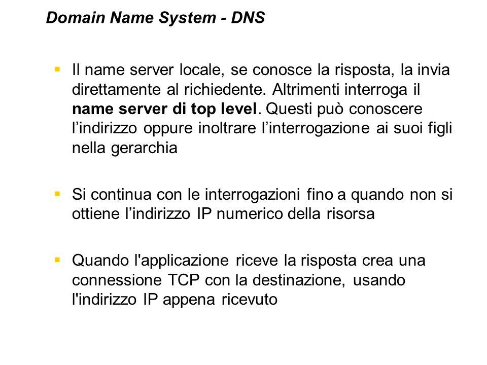 Il name server locale, se conosce la risposta, la invia direttamente al richiedente. Altrimenti interroga il name server di top level. Questi può cono