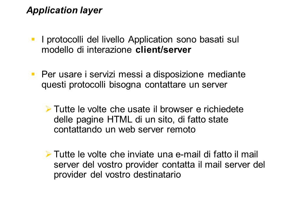I protocolli del livello Application sono basati sul modello di interazione client/server Per usare i servizi messi a disposizione mediante questi pro