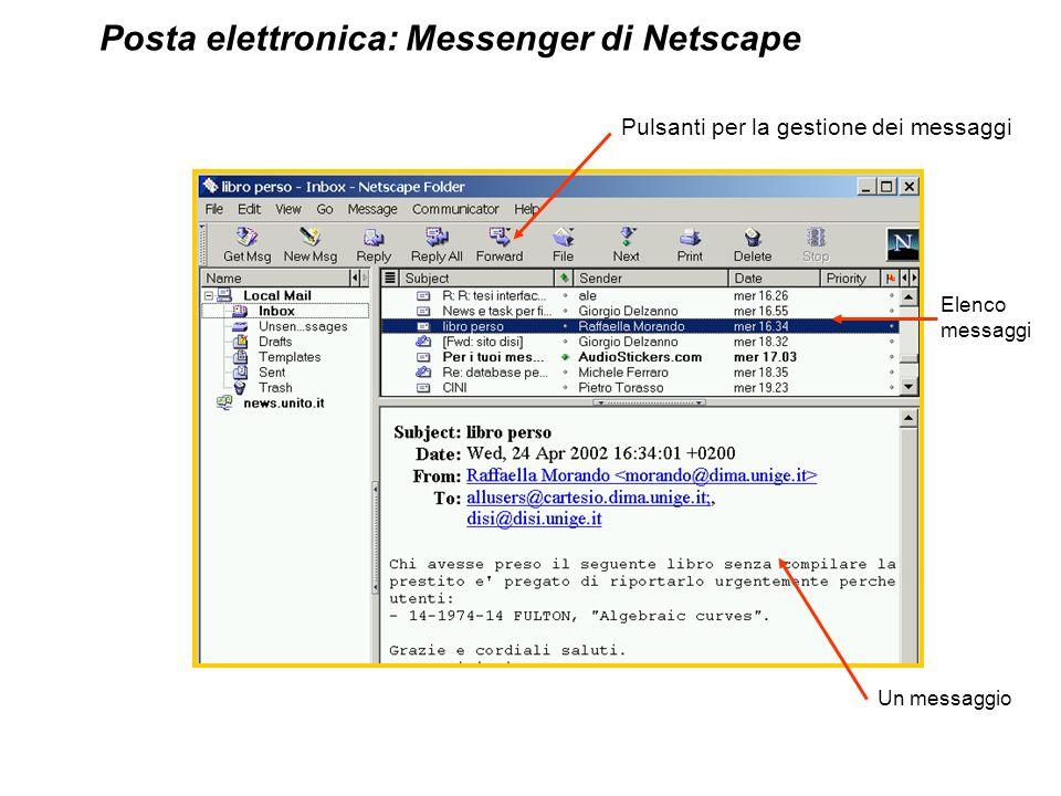 Elenco messaggi Un messaggio Pulsanti per la gestione dei messaggi Posta elettronica: Messenger di Netscape