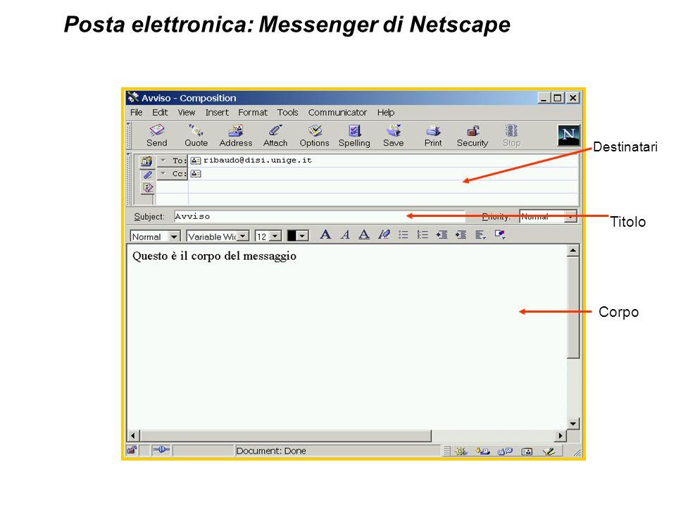 Destinatari Titolo Corpo Posta elettronica: Messenger di Netscape