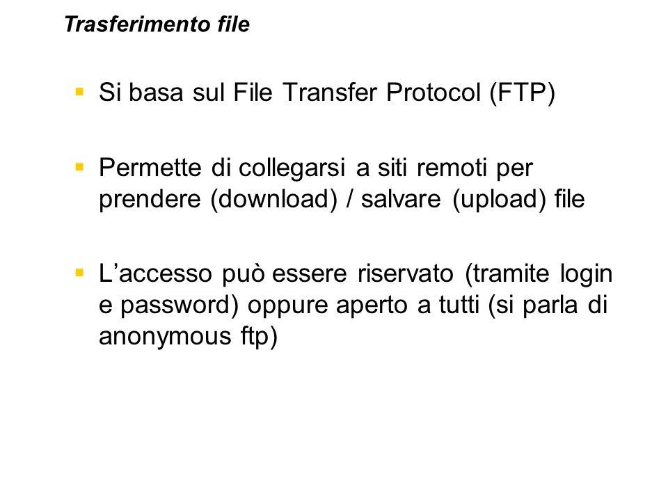 Si basa sul File Transfer Protocol (FTP) Permette di collegarsi a siti remoti per prendere (download) / salvare (upload) file Laccesso può essere rise