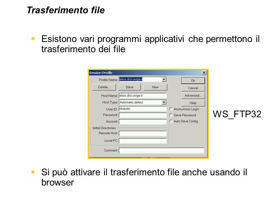 Esistono vari programmi applicativi che permettono il trasferimento dei file Si può attivare il trasferimento file anche usando il browser WS_FTP32 Tr