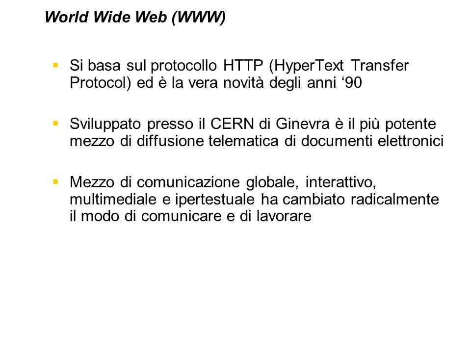 Si basa sul protocollo HTTP (HyperText Transfer Protocol) ed è la vera novità degli anni 90 Sviluppato presso il CERN di Ginevra è il più potente mezz