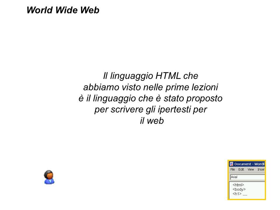 Il linguaggio HTML che abbiamo visto nelle prime lezioni è il linguaggio che è stato proposto per scrivere gli ipertesti per il web World Wide Web