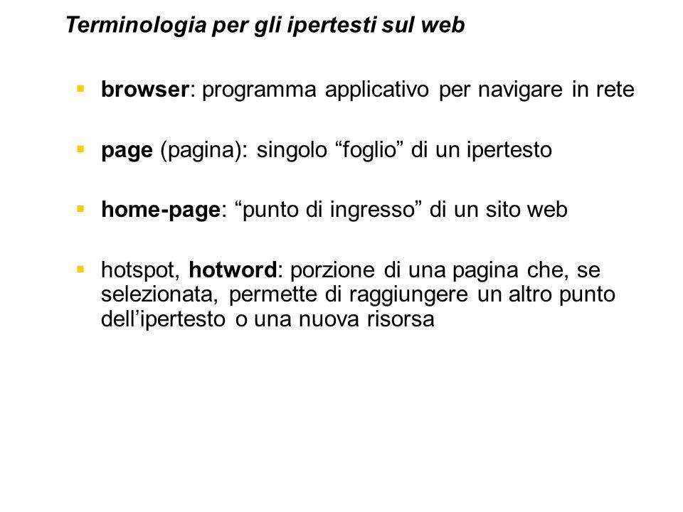 browser: programma applicativo per navigare in rete page (pagina): singolo foglio di un ipertesto home-page: punto di ingresso di un sito web hotspot,