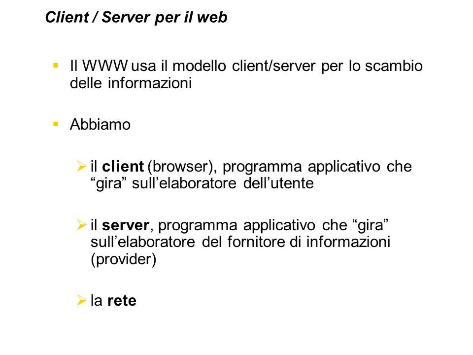 Il WWW usa il modello client/server per lo scambio delle informazioni Abbiamo il client (browser), programma applicativo che gira sullelaboratore dell