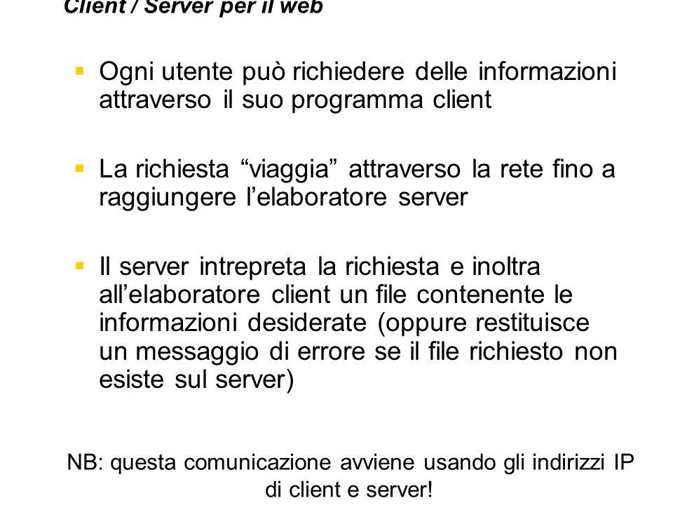 Ogni utente può richiedere delle informazioni attraverso il suo programma client La richiesta viaggia attraverso la rete fino a raggiungere lelaborato