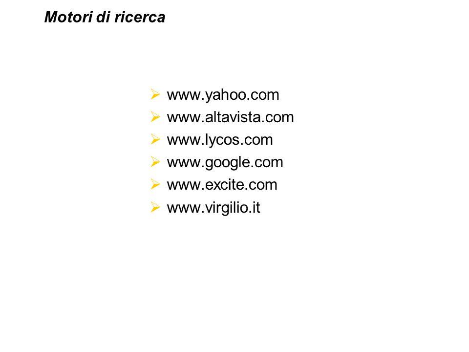 www.yahoo.com www.altavista.com www.lycos.com www.google.com www.excite.com www.virgilio.it Motori di ricerca