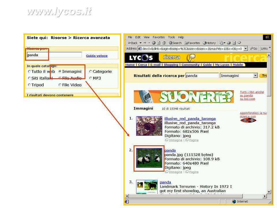 Ricerca avanzata in www.lycos.it per trovare le immagini