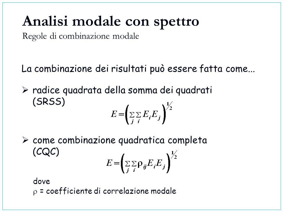 La combinazione dei risultati può essere fatta come... come combinazione quadratica completa (CQC) Analisi modale con spettro Regole di combinazione m