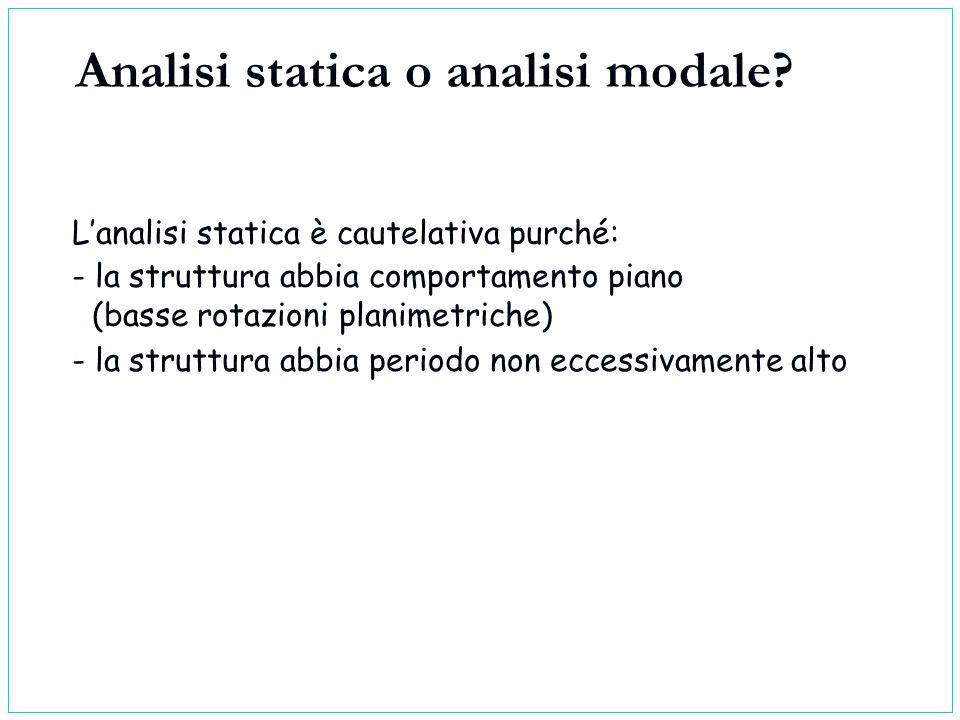 Lanalisi statica è cautelativa purché: - la struttura abbia periodo non eccessivamente alto - la struttura abbia comportamento piano (basse rotazioni