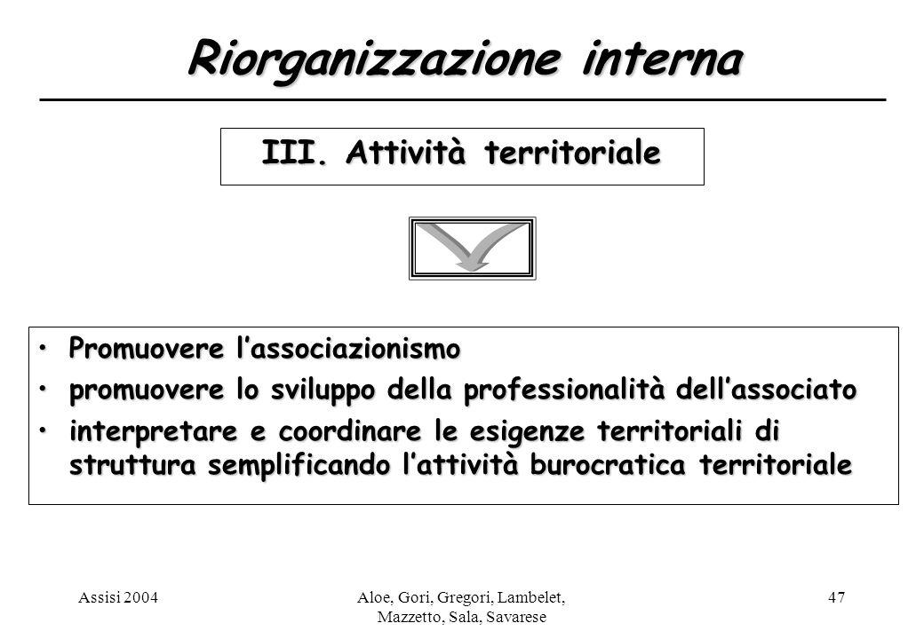 Assisi 2004Aloe, Gori, Gregori, Lambelet, Mazzetto, Sala, Savarese 47 Riorganizzazione interna III.