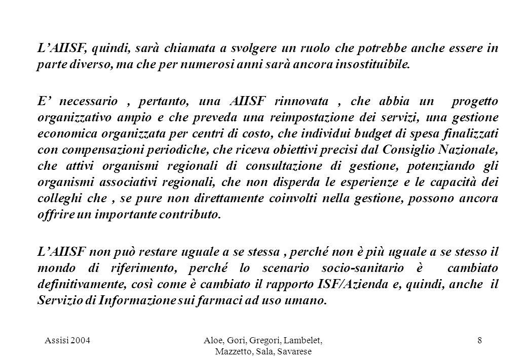 Assisi 2004Aloe, Gori, Gregori, Lambelet, Mazzetto, Sala, Savarese 8 LAIISF, quindi, sarà chiamata a svolgere un ruolo che potrebbe anche essere in parte diverso, ma che per numerosi anni sarà ancora insostituibile.