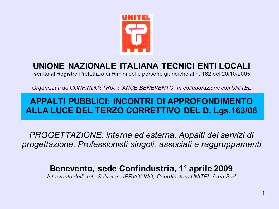 1 UNIONE NAZIONALE ITALIANA TECNICI ENTI LOCALI Iscritta al Registro Prefettizio di Rimini delle persone giuridiche al n.