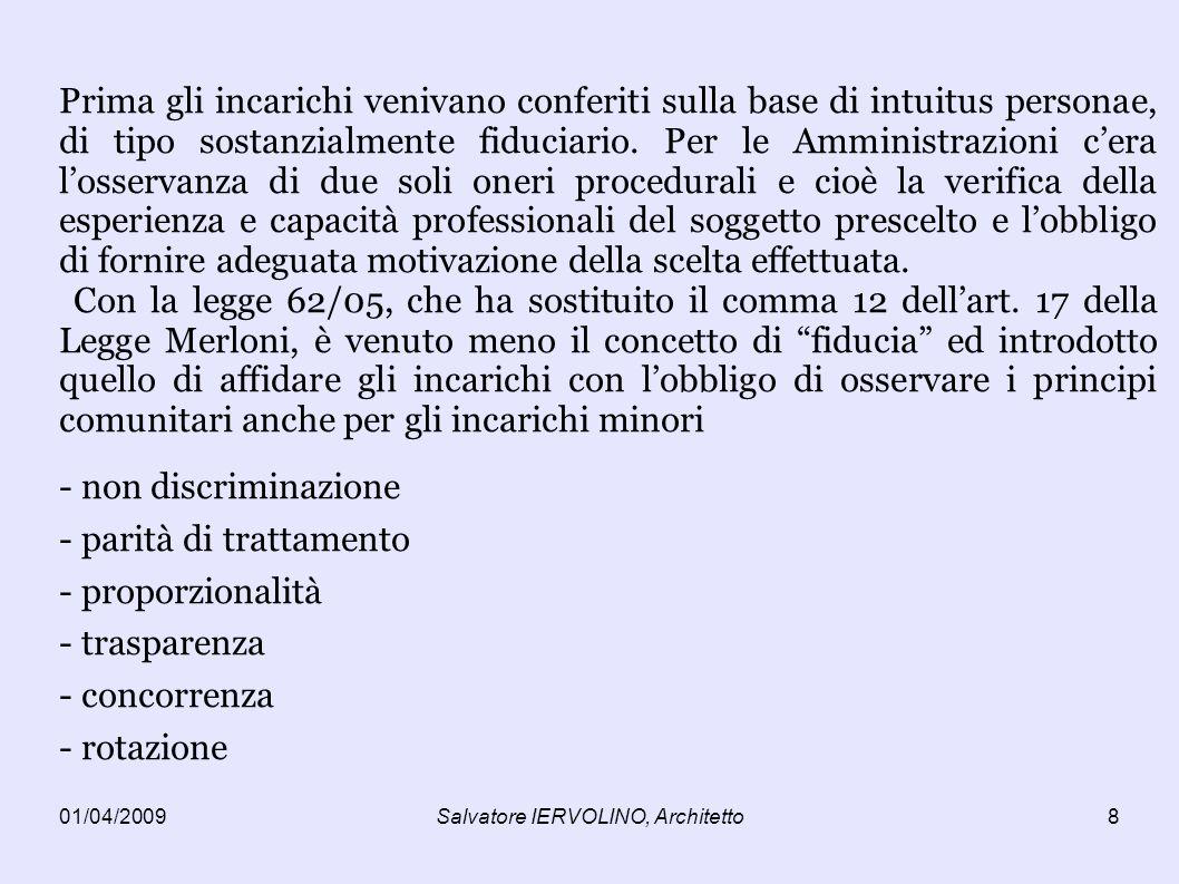 01/04/2009Salvatore IERVOLINO, Architetto8 Prima gli incarichi venivano conferiti sulla base di intuitus personae, di tipo sostanzialmente fiduciario.