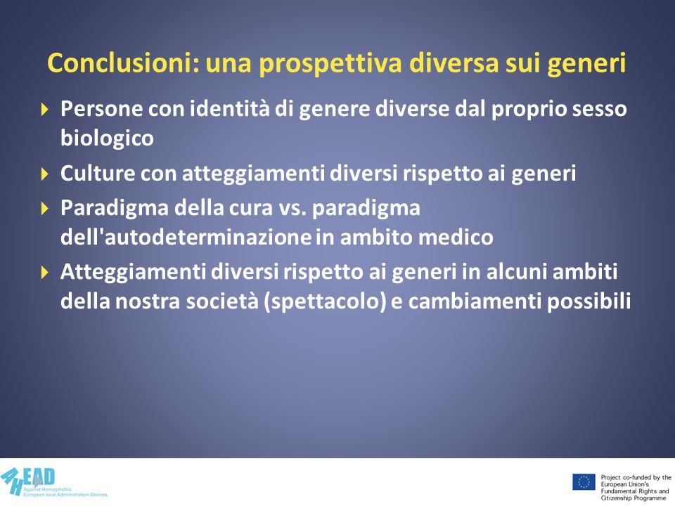 Conclusioni: una prospettiva diversa sui generi Persone con identità di genere diverse dal proprio sesso biologico Culture con atteggiamenti diversi r
