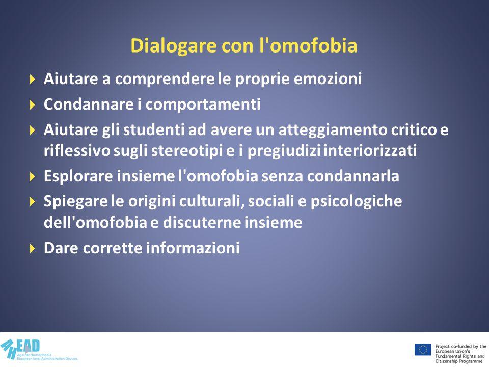 Dialogare con l'omofobia Aiutare a comprendere le proprie emozioni Condannare i comportamenti Aiutare gli studenti ad avere un atteggiamento critico e