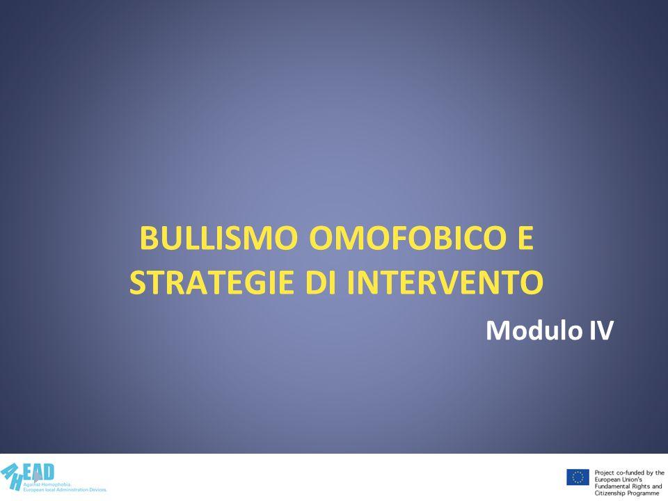 BULLISMO OMOFOBICO E STRATEGIE DI INTERVENTO Modulo IV
