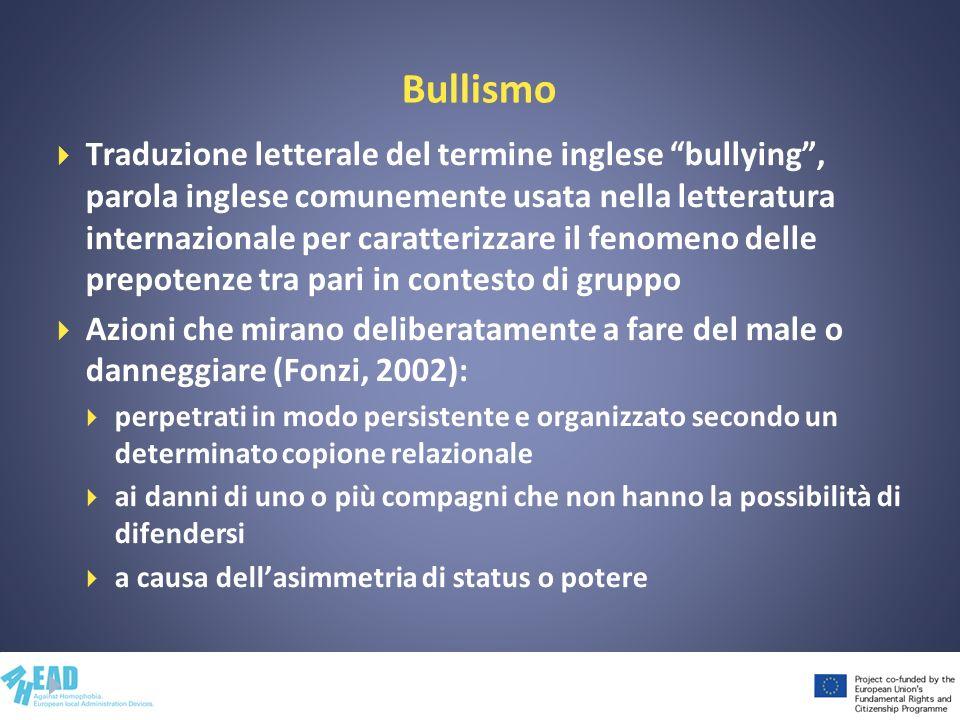 Bullismo Traduzione letterale del termine inglese bullying, parola inglese comunemente usata nella letteratura internazionale per caratterizzare il fe