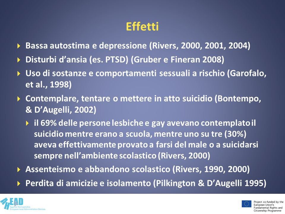 Effetti Bassa autostima e depressione (Rivers, 2000, 2001, 2004) Disturbi dansia (es. PTSD) (Gruber e Fineran 2008) Uso di sostanze e comportamenti se