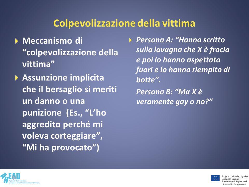 Colpevolizzazione della vittima Meccanismo di colpevolizzazione della vittima Assunzione implicita che il bersaglio si meriti un danno o una punizione