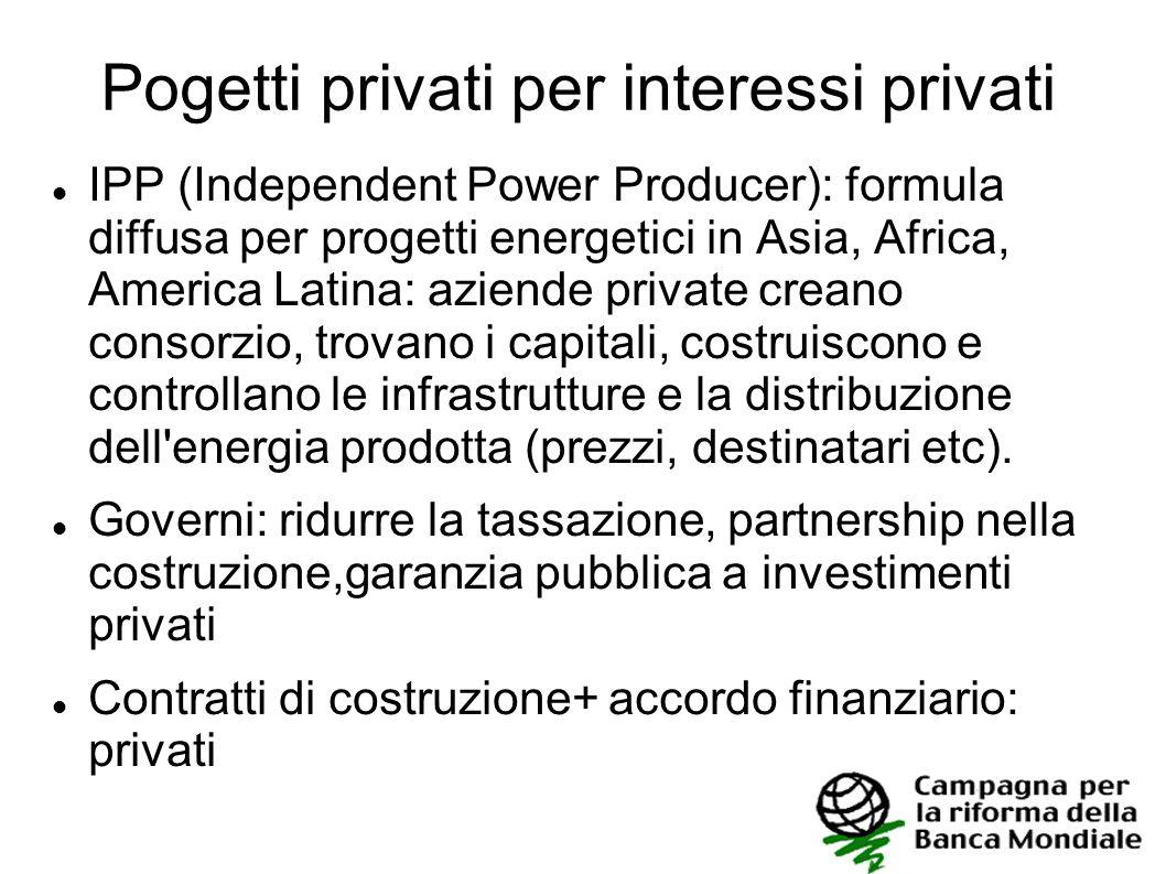 Pogetti privati per interessi privati IPP (Independent Power Producer): formula diffusa per progetti energetici in Asia, Africa, America Latina: azien