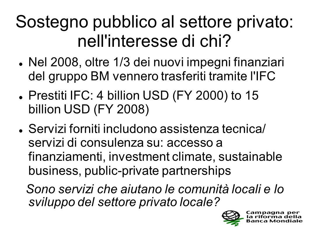 Sostegno pubblico al settore privato: nell'interesse di chi? Nel 2008, oltre 1/3 dei nuovi impegni finanziari del gruppo BM vennero trasferiti tramite